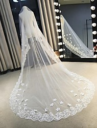 Wedding Veil One-tier Chapel Veils Cathedral Veils Veils for Short Hair Lace Applique Edge Lace Tulle