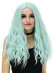 Women Long Purple Blue Rose/Green Silver Purple Gold Pink Loose Wave Middle Part Synthetic Hair CaplessNatural Wig Party Wig Halloween
