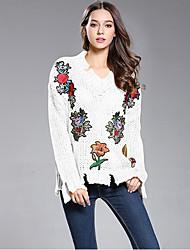 Для женщин На каждый день Обычный Пуловер Однотонный С принтом,V-образный вырез Длинный рукав Шерсть Весна Осень Средняя Неэластичная