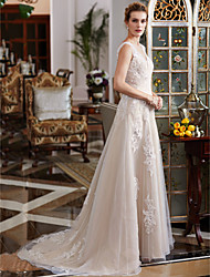A-Line Plunging Neckline Court Train Lace Tulle Wedding Dress with Beading Appliques by LAN TING BRIDE®