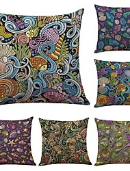 Set of 6 Southeast Asian Style Pattern Linen Cushion Cover Home Office Sofa Square Pillow Case Decorative Cushion Covers Pillowcases (18*18Inch)