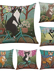 Set of 6 Cycling  Cat  Linen Cushion Cover Home Office Sofa Square Pillow Case Decorative Cushion Covers Pillowcases (18*18Inch)