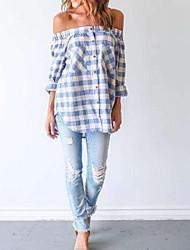 Damen Druck Einfach Lässig/Alltäglich T-shirt,Bateau Sommer Langarm Leinen