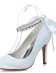 Для женщин Свадебная обувь Формальная обувь Весна Лето Сатин Свадьба Для вечеринки / ужина Жемчуг Ленты На шпильке Белый Синий 7 - 9,5 см