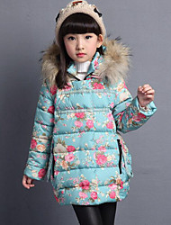 Girls' Floral Down & Cotton Padded,Rayon Winter Long Sleeve