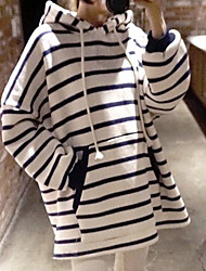 Women's Going out Hoodie Striped Hooded Stretchy Polyester Long Sleeve Spring Fall