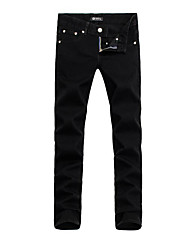 Men's Low Rise Micro-elastic Jeans Pants,Simple Slim Solid