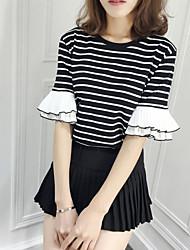 Damen Gestreift Einfach Lässig/Alltäglich T-shirt,Rundhalsausschnitt Halbe Ärmel Polyester