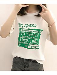 Damen Druck Einfach Lässig/Alltäglich T-shirt,Rundhalsausschnitt Halbe Ärmel Polyester