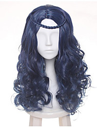 60cm Female's Blue Black Mix Wave Long Central Part Braid Styled Synthetic Hair Party Cosplay Full Wigs Heat resistance Halloween Custoe Wig Hot