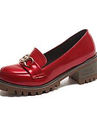 Women's Heels Comfort Formal Shoes Fall PU Walking Shoes Casual Dress Office & Career Rhinestone Low Heel Chunky Heel Black Beige Ruby