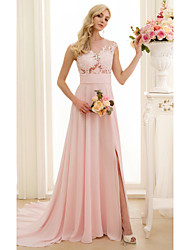 Princesa Escote de ilusión Corte Raso Tul Vestido de novia con Apliques Botones Frontal Abierto por LAN TING BRIDE®