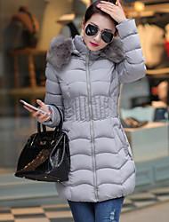 Пальто Уличный стиль Пуховик Для женщин,Однотонный На выход Другое Полипропилен,Длинный рукав