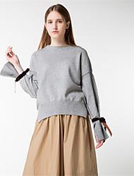 Mujer Regular Pullover Casual/Diario Simple,Un Color Escote Redondo Manga Larga Lana Algodón Poliéster Otoño Invierno Medio Microelástico