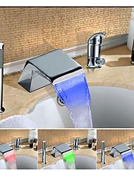 Changement de couleur LED Diffusion large Jet pluie Multi-teintes Mitigeur Trois trous for  Chrome , Robinet lavabo