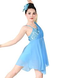 Danse latine Robes Femme Enfant Spectacle Chinlon Elasthanne Paillété Plissé 2 Pièces Sans manche Taille moyenne Robe Coiffures