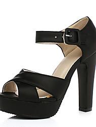 Damen Schuhe PU Sommer Komfort High Heels Blockabsatz Peep Toe Mit Für Normal Schwarz Rosa
