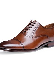 Men's Shoes Nappa Leather Cowhide Spring Summer Fall Winter Comfort Formal Shoes Oxfords Lace-up For Casual Office & Career Black Brown