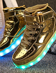 Boys' Sneakers Comfort Light Up Shoes Fall Winter Leatherette Walking Shoes Athletic Casual Outdoor Hook & Loop LED Low Heel Gold White