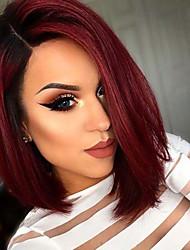 Mujer Pelucas sintéticas Sin Tapa Corto Liso Negro / Borgoña Pelo Ombre Corte Bob Peluca natural Las pelucas del traje