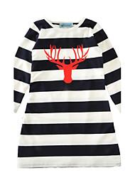Girl's Striped Dress Cotton Spring Fall Long Sleeve Autumn Winter Antlers Kids Girls Dress