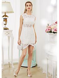 Eng anliegend Illusionsausschnitt Asymmetrisch Spitze Hochzeitskleid mit Spitze durch LAN TING BRIDE®