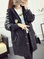 Women's Casual/Daily Simple Long Cardigan,Print Hooded Long Sleeves Rabbit Fur Cotton Linen Fall Medium Micro-elastic