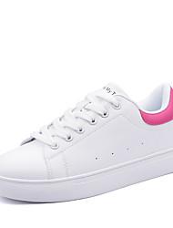 Femme Baskets Confort Similicuir Printemps Automne Décontracté Marche Lacet Plateforme Noir Rose et blanc Noir/blanc Blanc et vert7,5 à