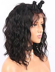 Mujer Pelucas de Cabello Natural Cabello humano Encaje Frontal Frontal sin Pegamento 130% Densidad Ondulado Ondulado Grande Peluca Negro
