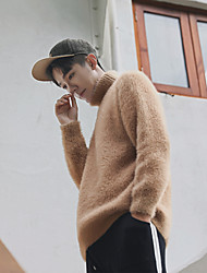 Men's Going out Casual/Daily Short Pullover,Solid Turtleneck Long Sleeves Wool Others Mohair Spring Fall Medium Micro-elastic