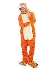 Кигуруми Пижамы Tiger трико/Комбинезон-пижама Туфли Фестиваль / праздник Нижнее и ночное белье животных Хэллоуин Мода Вышивка Фланель