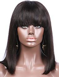 Damen Echthaar Perücken mit Spitze Echthaar Vollspitze Spitzenfront Ohne Klebstoff und volle Spitze 130% Dichte Glatt Perücke Schwarz