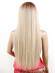 Peluca recta del frente del cordón 26inch del kanekalon peluca larga sintética del ombre del blonde