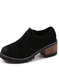 Для женщин Мокасины и Свитер Удобная обувь Дерматин Весна Осень Повседневные На низком каблуке Черный Коричневый Зеленый Менее 2,5 см