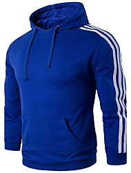Men's Plus Size Sports Outdoor Sports Plus Size Running Casual/Daily Simple Active Hoodie Striped Color Block Stripe Patchwork Hooded