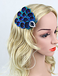 Women's Alloy Rhinestone Peacock Feather Headpiece-Wedding Party/ Evening Headbands Flowers 1 Piece Dress Accessories Blue Hairpin