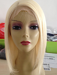 Luxurious Full Lace Human Hair Wigs Blonde #613 Chinese Virgin Hair Straight Transparent Lace Gluless Cap for Black/White Women