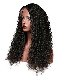 Mujer Pelucas de Cabello Natural Cabello humano Encaje Frontal Frontal sin Pegamento 130% Densidad Ondulado Produndo Peluca Negro Negro