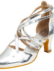Women's Modern Dance ShoesLatin/Ballroom Girls Dancing Shoe Sandals Heels Professional Buckle Customized Heel Silver