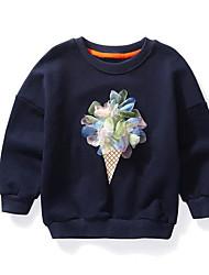 Девочки Блуза Хлопок Цветок Осень Длинный рукав