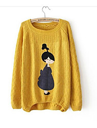 Для женщин На выход На каждый день Простое Очаровательный Обычный Пуловер С принтом,Круглый вырез Длинный рукав Шерсть Осень Средняя