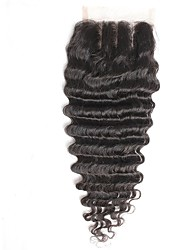 4x4inch deep wave  Hair  lace front closure remy human hair closure baby hair 8-20inch 3 Part Way