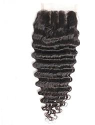 4x4inch profunda onda cabelo laço frente fechamento remy cabelo humano cabelo encerramento 8-20 inch 3 parte caminho