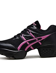 "Women's Dance Sneakers Real Leather Tulle Sneakers Outdoor Splicing Flat Heel Pink/Black 1"" - 1 3/4"" Customizable"