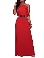 Mujer Vaina Vestido Fiesta Noche Discoteca Sexy Simple Chic de Calle,Un Color Escote Cuadrado Maxi Sin Mangas Poliéster Primavera Verano