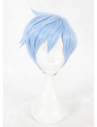 Perucas sintéticas Sem Touca Curto Liso Azul Faux Locs Wig Peruca para Cosplay Perucas para Fantasia