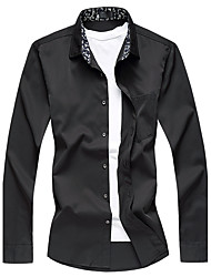 Men's Plus Size Business Casual Slim Pure Cotton Long Sleeve Shirt Cotton Polyester