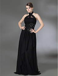 A-Line Princess High Neck Halter Floor Length Tulle Stretch Satin Prom Dress with Beading by TS Couture®