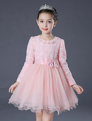 Girl's Birthday Casual/Daily Holiday Solid Floral Dress,Cotton Polyester Fall Winter Long Sleeve