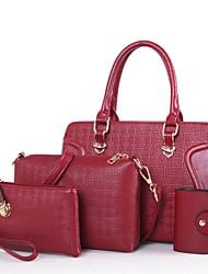 Damen Bag Sets PU Ganzjährig Normal Baguette Bag Reißverschluss Blau Gold Schwarz Rote Beige
